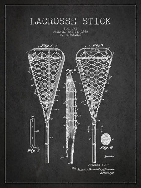 Intellectual Property Wall Art - Digital Art - Lacrosse Stick Patent From 1950- Dark by Aged Pixel