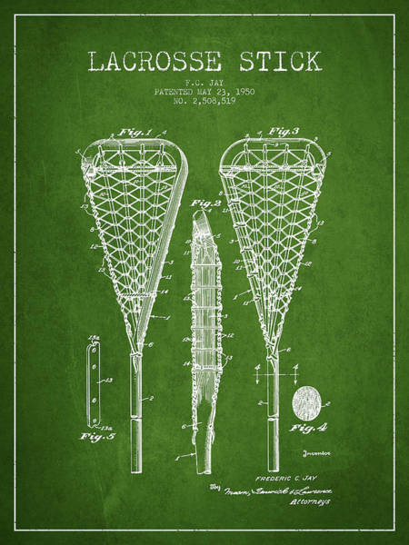 Stick Digital Art - Lacrosse Stick Patent From 1950- Green by Aged Pixel