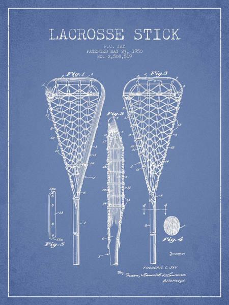 Stick Digital Art - Lacrosse Stick Patent From 1950- Light Blue by Aged Pixel