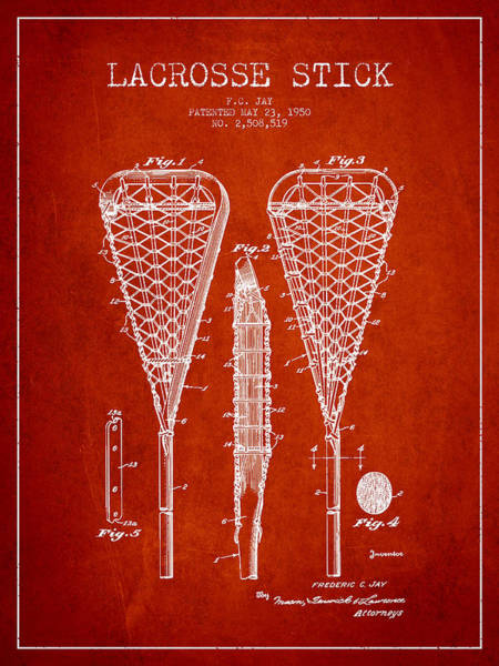 Stick Digital Art - Lacrosse Stick Patent From 1950- Red by Aged Pixel