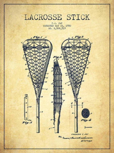 Stick Digital Art - Lacrosse Stick Patent From 1950- Vintage by Aged Pixel