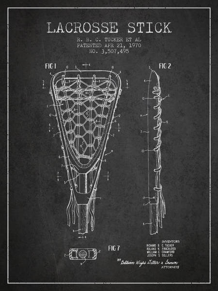 Stick Digital Art - Lacrosse Stick Patent From 1970 - Charcoal by Aged Pixel