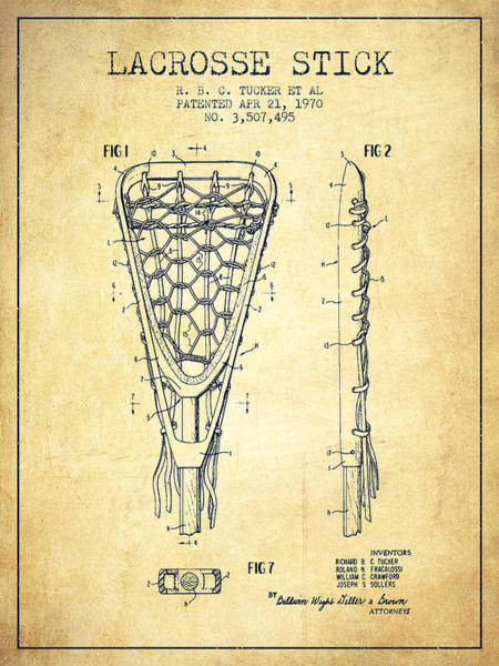Stick Digital Art - Lacrosse Stick Patent From 1970 -  Vintage by Aged Pixel