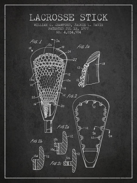 Stick Digital Art - Lacrosse Stick Patent From 1977 -  Charcoal by Aged Pixel