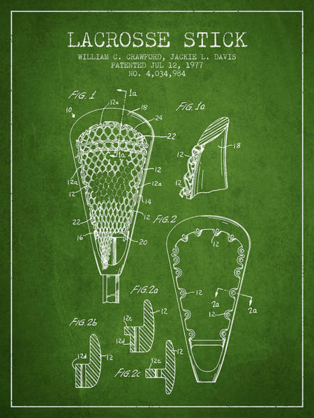 Stick Digital Art - Lacrosse Stick Patent From 1977 -  Green by Aged Pixel