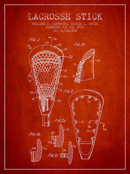 Stick Digital Art - Lacrosse Stick Patent From 1977 -  Red by Aged Pixel