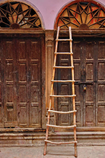 Bamboo Photograph - Ladder And Doorways, Delhi, India by Adam Jones