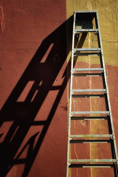Ladder And Shadow On The Wall Art Print