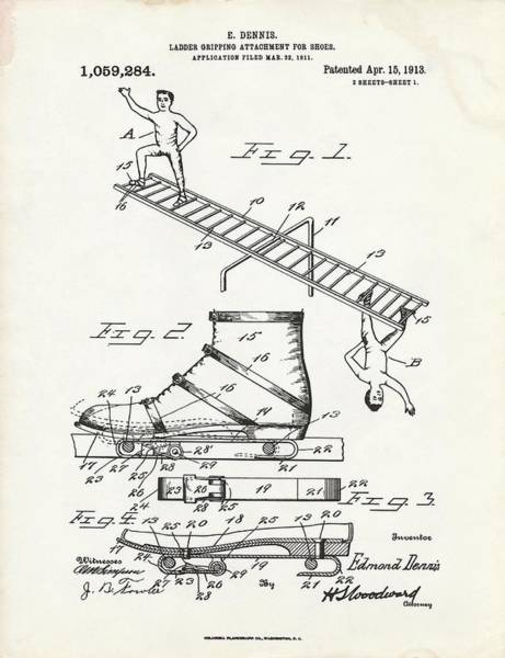 Ladder Gripping Attachment Patent Art Print