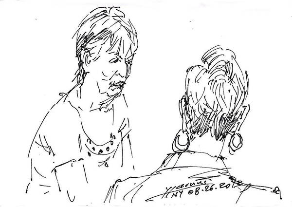 Wall Art - Drawing - Ladies Chatting by Ylli Haruni