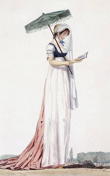 Fashion Drawing - Ladies Elegant Summer Dress by English School