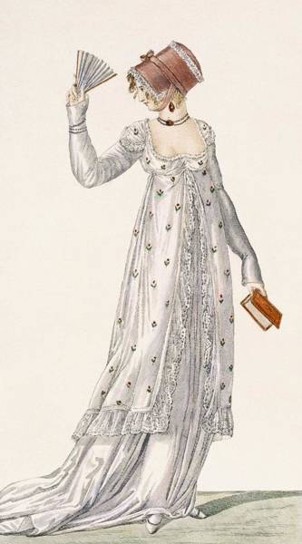 Light Blue Drawing - Ladies Evening Dress, Fashion Plate by English School