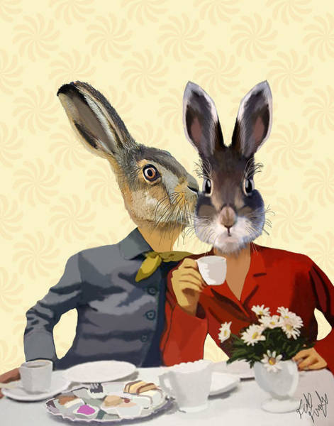 Haring Digital Art - Ladies Gossiping Hares by Kelly McLaughlan