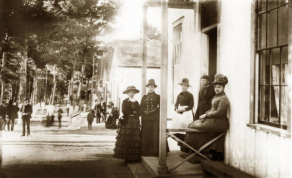 Photograph - Ladies On Grand Avenue Looking Down From Lighthouse Ave. Circa 1880 by California Views Archives Mr Pat Hathaway Archives