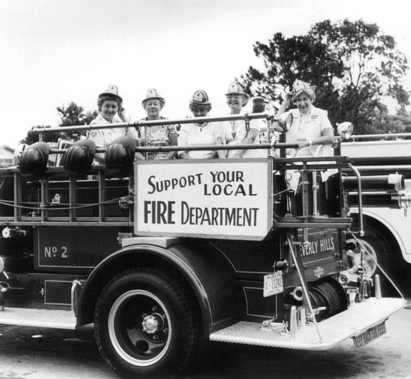 Fire Department Photograph - Ladies Supporting Fire Department by Retro Images Archive