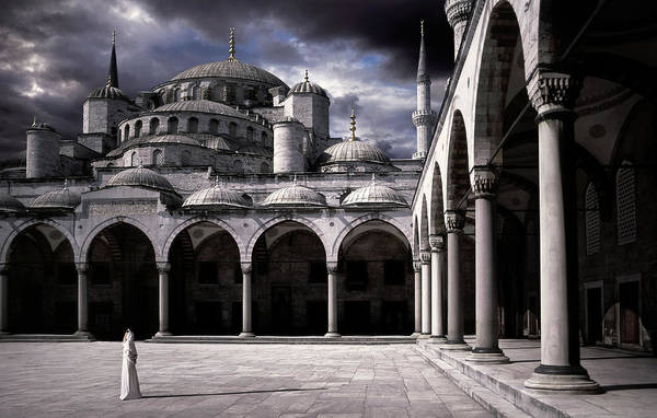 Columns Photograph - Lady And The Mosque by Daniel Murphy