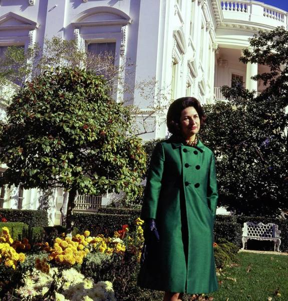 Official Residence Photograph - Lady Bird Johnson In A Garden by Horst P. Horst