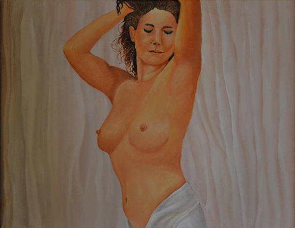 11x14 Painting -  Nude In Satin by Martin Schmidt