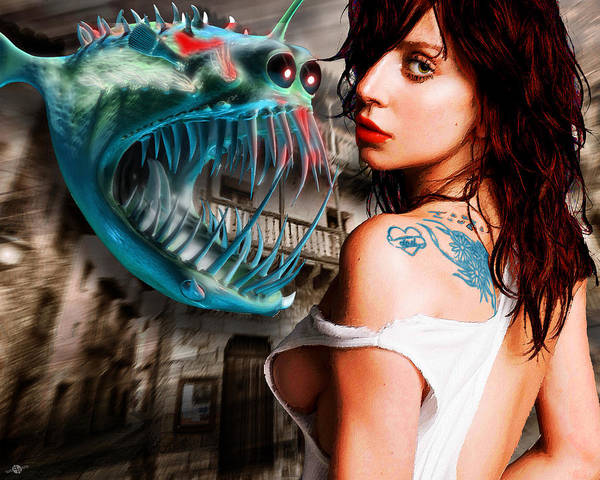 Painting - Lady Gaga And Angler Fish by Tony Rubino