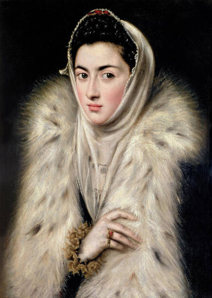 Ermine Wall Art - Painting - Lady In A Fur Wrap by Domenico El Greco
