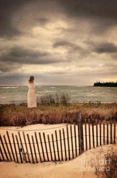 Wall Art - Photograph - Lady In A White Dress By The Sea by Jill Battaglia