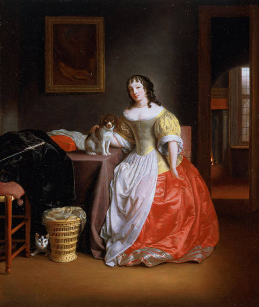 Spaniel Photograph - Lady In A Yellow And Red Dress by Samuel van Hoogstraten