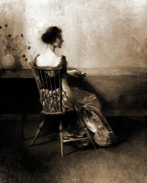 Wall Art - Drawing - Lady In Black & Rose, Dewing, Thomas Wilmer by Litz Collection
