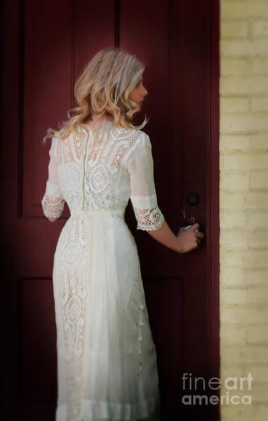 Wall Art - Photograph - Lady In Edwardian Dress Opening A Door by Jill Battaglia