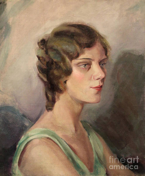 Painting - Lady In Green 1929 by Art By Tolpo Collection