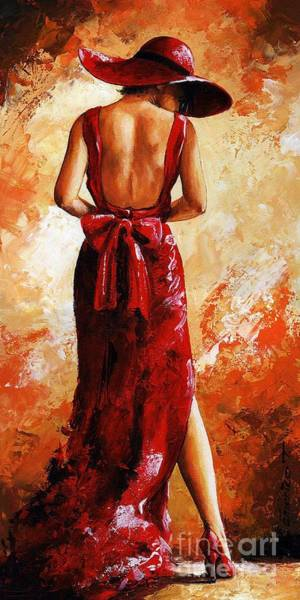 Wall Art - Painting - Lady In Red  39 by Emerico Imre Toth