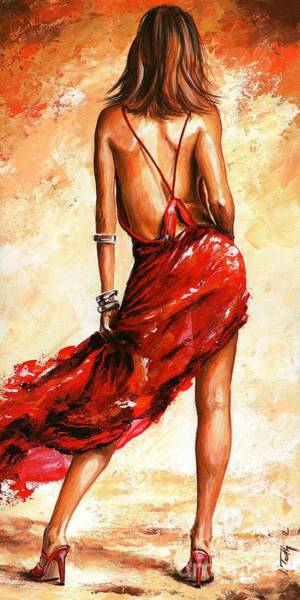 Wall Art - Painting - Lady In Red 40 by Emerico Imre Toth