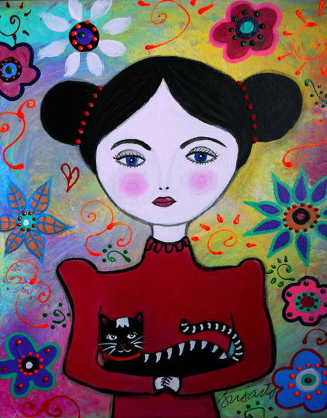 Painting - Lady In Red And Her Cat by Pristine Cartera Turkus