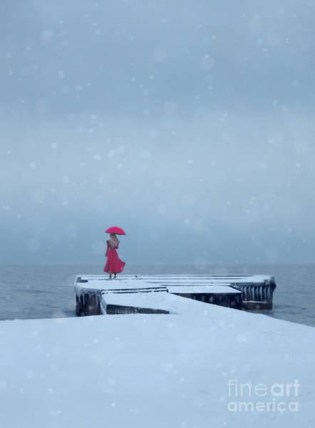 Wall Art - Photograph - Lady In Red On Snowy Pier by Jill Battaglia