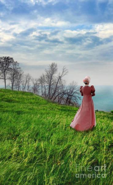 Wall Art - Photograph - Lady In Regency Clothing By The Sea by Jill Battaglia