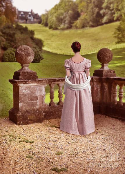 Wall Art - Photograph - Lady In Regency Dress Looking At A Mansion by Jill Battaglia