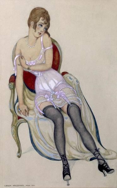 Seductive Painting - Lady In Underwear, 1917 by Gerda Marie Frederike Wegener
