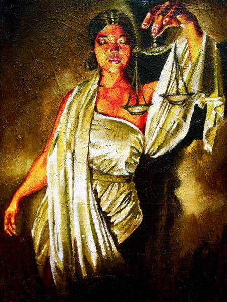 Balance Painting - Lady Justice Sepia by Laura Pierre-Louis