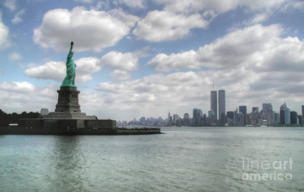 Photograph - Lady Liberty And New York Twin Towers by Tap On Photo