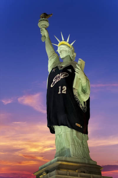 Photograph - Lady Liberty Dressed Up For The Nba All Star Game by Susan Candelario