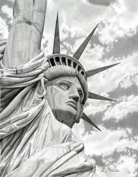 Wall Art - Drawing - Lady Liberty  by Sarah Batalka