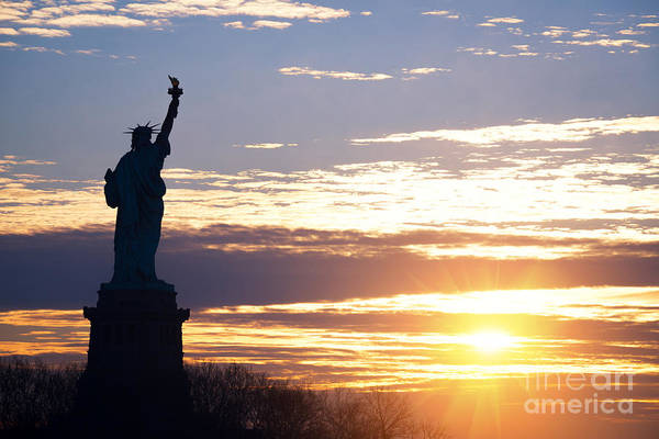 Lady Liberty Photograph - Lady Liberty Sunrise  by Michael Ver Sprill