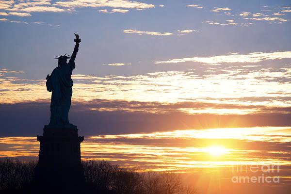Mv Photograph - Lady Liberty Sunrise  by Michael Ver Sprill