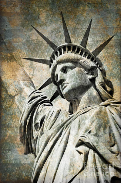 Wall Art - Photograph - Lady Liberty Vintage by Delphimages Photo Creations