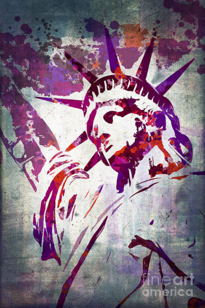 Wall Art - Painting - Lady Liberty Watercolor by Delphimages Photo Creations