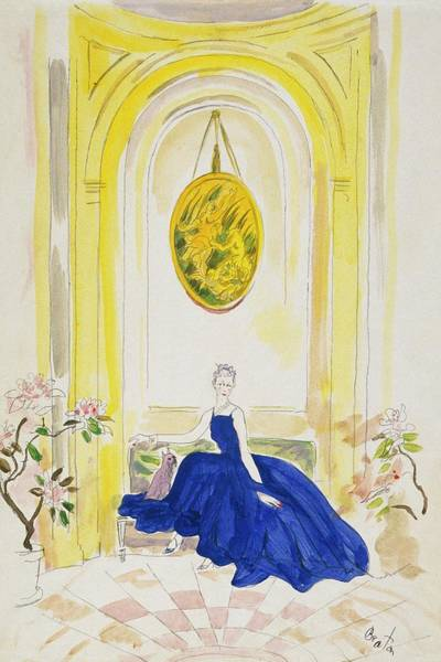 Lady Mendl Wearing A Blue Dress Art Print