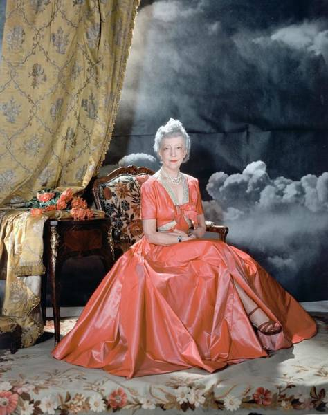 1941 Photograph - Lady Mendl Wearing An Orange Dress by Horst P. Horst