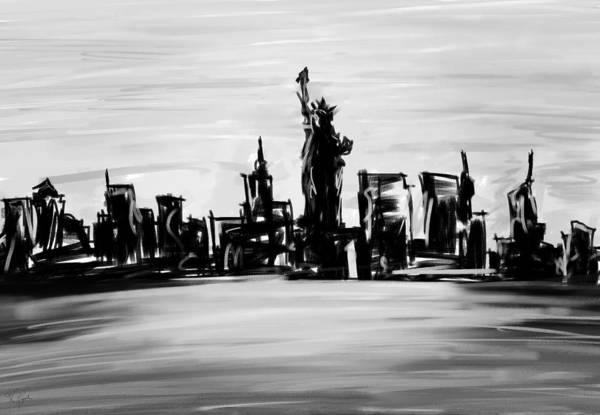 Painting - Lady Of New York- Black And White by Lourry Legarde