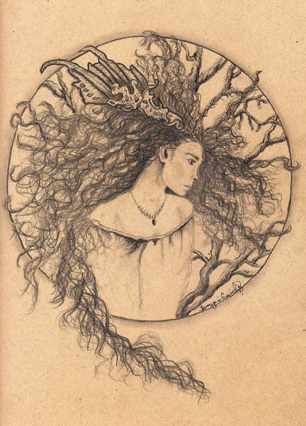 Drawing - Lady Of The Forest by Tamyra Crossley