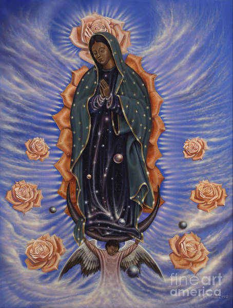 Mother Of God Painting - Lady Of The Roses by Ricardo Chavez-Mendez