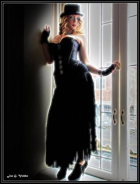 Painting - Lady On A Window Seal by Jon Volden